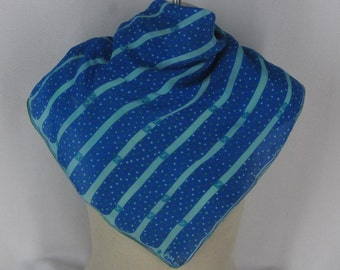 Vintage Vera Scarf 1960s Blue Silk Polka Dot Stripes Square Ladybug Signature