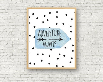 Adventure Awaits Boys Room Nursery Wall Art Printable Blue and Polkadots 8x10 digital download printable art