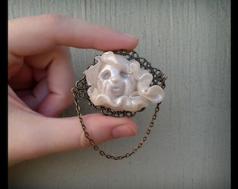 Ghost Girl #3 Brooch Pin-Polymer Clay Jewelry Macabre Spectre Victorian Edwardian Sculpture Gothic Horror Story Strange Fantasy Soul Spirit