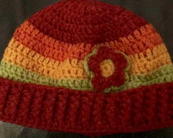 Pure wool Rainbow Flower Beanie