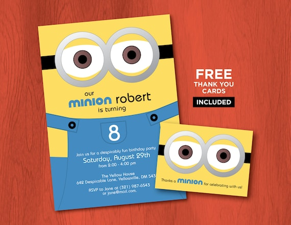 Printable MINION Birthday Invitations Personalized Despicable Me