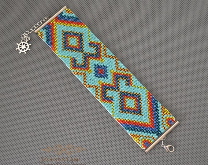 Wide bracelet, geometric bracelet, native bracelet, beaded bracelet, loom bracelet, woven bracelet, seed bead bracelet, gift for her, aztec