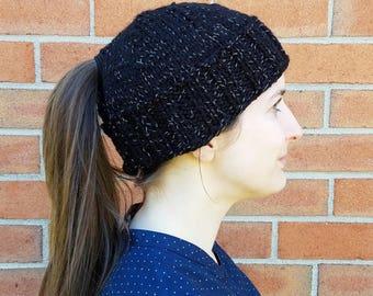 Reflective Black Ponytail Hat