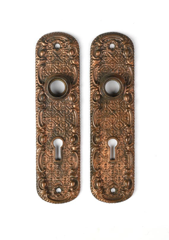 antique pair of decorative cast iron early 1900u0027s door plates / vintage set of door plates with floral design from ArchAntiquesShop on Etsy Studio  sc 1 st  Etsy Studio & antique pair of decorative cast iron early 1900u0027s door plates ...