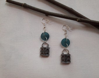 Button and charm earrings