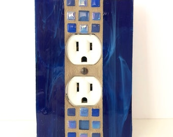 Blue Outlet Cover, Decorative Switch Plate, Wall, Wall Decor, Mosaic Light Switch Plate, Stained Glass Switch Cover, Kitchen Decor, 8958