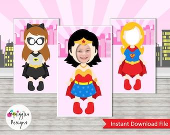 Super Hero Girls Photo Booth Props (includes Wonder Woman, Supergirl, & Batgirl) - Digital Files