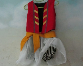 Baby, Toddler Pirate Costume: Fully Lined Vest, Knickers, Skirt & Sash - All Cotton/Linen/Silk Fabric - Size 6 to 24 Months, Made To Order