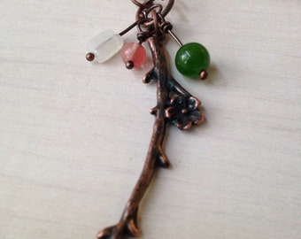 Woodland Rustic Blossom Copper Twig Necklace Green Pink Handmade Jewelry San Diego California USA Go2Girl Designs by Kila Rohner