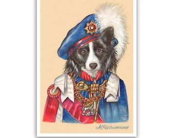 Border Collie Art Print - the Queen - Dogs in Clothes Art Prints - Royal Dog Clothes - Pet Kingdom by Maria Pishvanova
