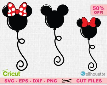 Balloon svg, Mickey balloon svg, Minnie balloon svg, Disney balloon svg, Mickey svg, Disney svg, Minnie svg, Disney Cricut, Bow svg