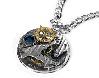 Steampunk Jewelry MENS Pocket Watch Necklace PINSTRIPE Blue Crystal Ship Wheel Nautical, Boyfriend Fathers Day, Burning Man - by edmdesigns
