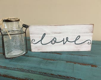 Love Rustic Pallet Style Wood Sign, Rustic Love Sign, Small Love Sign, Small Gallery Wall Sign, Custom Love Sign, Wedding Gift