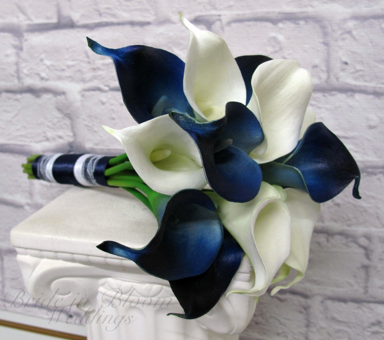 Calla lily Wedding bouquet Navy blue white real touch