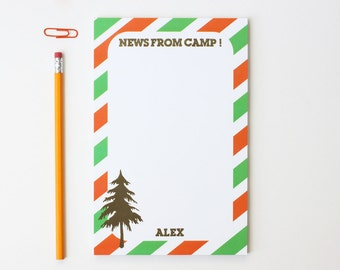 Summer Camp Stationary for Boys Notepad Personalized Note Pad Letters From Camp Care Package for Boys Green and Orange Kids Stationery