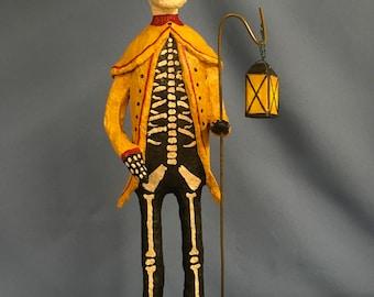 Paper mache sculpted scary skeleton Halloween spooky decorative figure