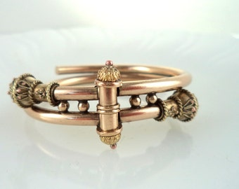 Antique Victorian Wedding Bracelet Etruscan Style Hinged Bypass Clamp