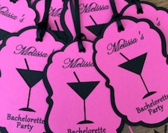 Martini Glass Party Tags, Personalized Shower Tags, Custom Bachelorette Party Thank You/Birthday Party Favor Tags, Set of 8 Tags