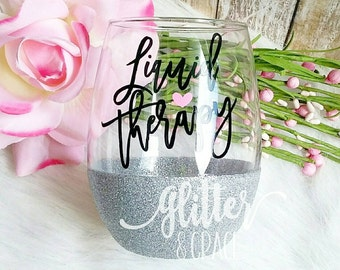 Liquid Therapy // Glitter Dipped Stemless Wine Glass