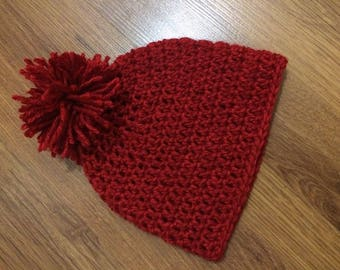 Babies'/Children's Crochet Beanie with Pom Pom