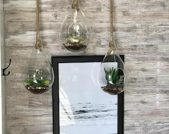 Hanging Succulent Orb - Faux Flowers
