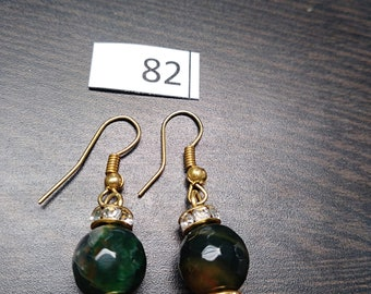 Green with Gold Diamond Accent Earrings