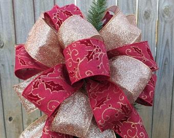Elegant Tree Topper - Burgundy and Rosy Gold - Christmas Tree Topper - Elegant Formal Christmas Decor, Etsy Tree Topper