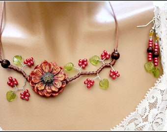 Red Chrysanthemum flower jewelry set