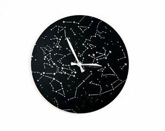 Modern Wood Wall Clock, Black and Silver Constellation Wall Art
