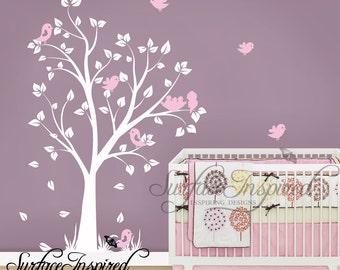 Nursery Wall Decals - Baby garden tree wall decal for boys and girls nursery. Tree wall decal with flying birds.