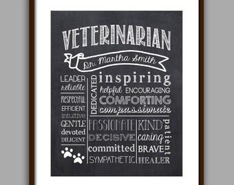 Veterinarian Gift, Veterinarian Graduate Gift, Veterinarian Appreciation Gift, Veterinarian Print, Thank you, Chalkboard Style Print