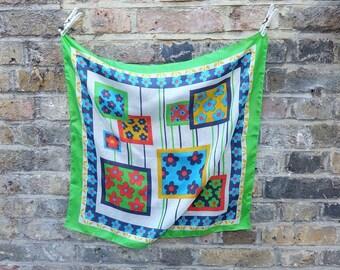 1960s vintage multicolour silk handkerchief scarf - Sixties Mod Flower Print