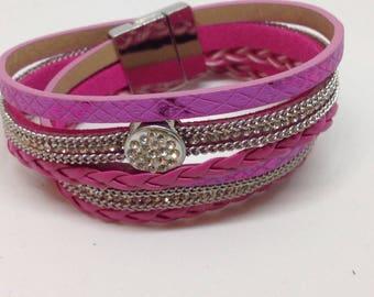 Double leather and rhinestone bracelet