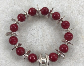 Sumptuous & Stretchy Red Glass Pearl Bracelet With Beautifully Detailed Tibetan Silver Wavy Flats