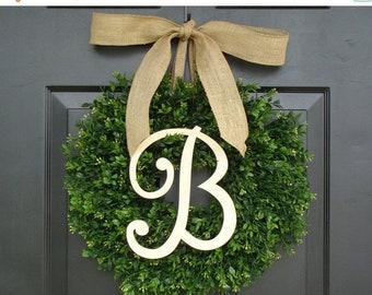 SPRING WREATH SALE Monogram Boxwood Wreath, Fall Monogram Wreath with Burlap Bow, Housewarming Gift, Wedding Wreath 16- 24 Inch Available
