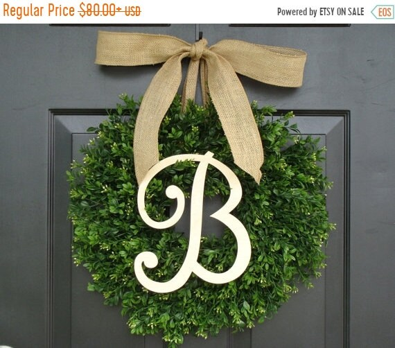 SPRING WREATH SALE Monogram Boxwood Wreath, Fall Monogram Wreath with Burlap Bow, Housewarming Gift, Wedding Wreath 16- 24 Inch Available