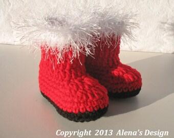 Crochet Pattern 090  - Baby Santa Booties 0-3, 3-6, 6-9, 9-12 months - Christmas - Baby Booties - Baby Boy  Baby Girl - Christmas Decoration