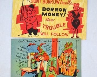 Vintage Postcards, Mid Century Funny Postcards, Funny Money Postcard Ephemera