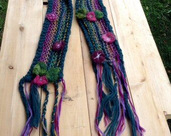 Wool Scarf Hand Knit Felted Flowers Leaves