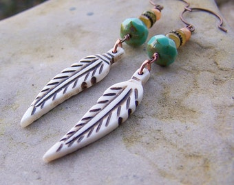 Natural Bone Feathers | Czech Glass | Nature Lover | Earthy and Organic | Woodland Wedding | Earrings Under 25 | Jewelry For Her Under 25