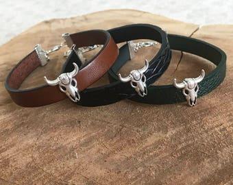 Leather strap and Buffalo head