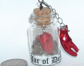Jar With Dirt, Pirates Necklace/ Tiny Hand Sculpted Anatomical Heart, Pirate Jewelry, Lobster Claw, Anatomical Heart, Gift,