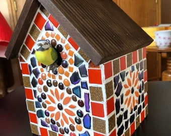 Birdhouse - orange and browns mosaic