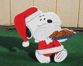 Peanuts Snoopy Santa Yard Sign