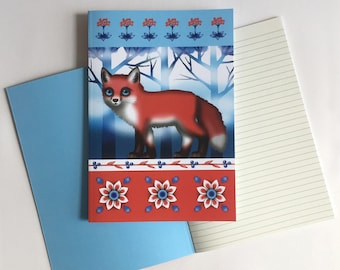 Fox notebook, A5 notebook, Woodland animal, Folk art, Scandinavian style