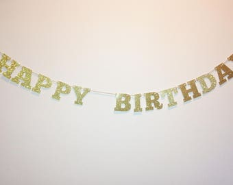 Happy Birthday Glitter Garland Bunting - Hanging Pennants - Party Decorations