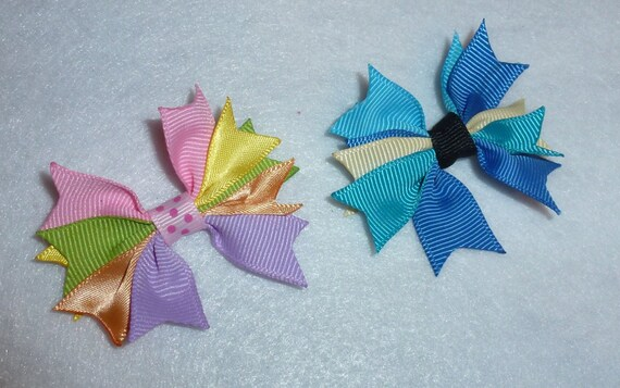 Puppy Dog Bows ~ Pastel pinwheel spikes multicolor pet hair bow barrettes or bands (fb107)