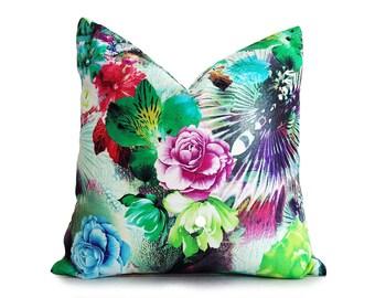 Floral Pillow Case, Colorful Spring Pillow, Girls Bedroom Decor, Pink Green Purple, Digital Print, Zipper, 12x18 Lumbar, 16x16, 18x18