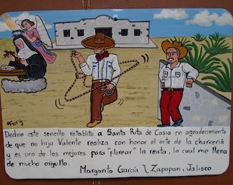 Ex-voto contemporary altarpiece theme Charros Floren the traditional Mexican Reata