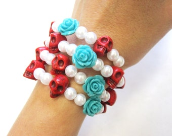 Day of the Dead Bracelet Sugar Skull Jewelry Wrap Red White Blue Rose